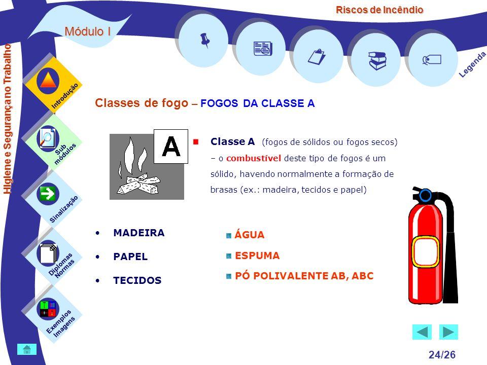 Riscos de Incêndio Módulo I 24/26 Exemplos Imagens Sub módulos Sinalização Diplomas Normas Introdução Legenda Higiene e Segurança no Trabalho Classes
