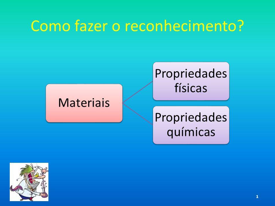 Como fazer o reconhecimento? Materiais Propriedades físicas Propriedades químicas 1