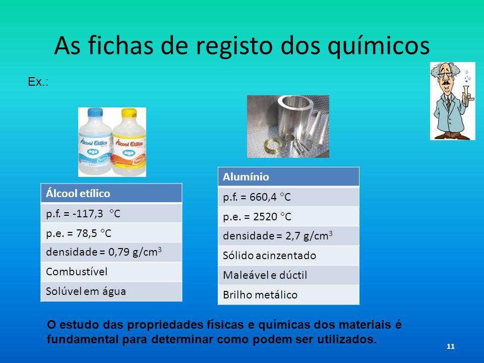 As fichas de registo dos químicos Álcool etílico p.f. = -117,3 C p.e. = 78,5 C densidade = 0,79 g/cm 3 Combustível Solúvel em água Alumínio p.f. = 660