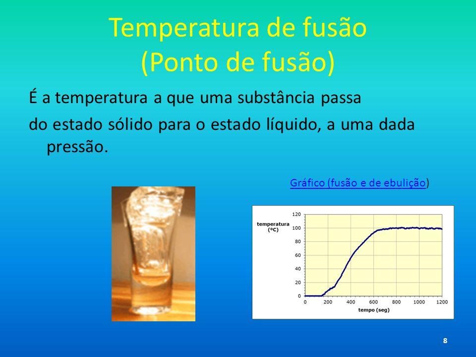 Temperatura de fusão (Ponto de fusão) É a temperatura a que uma substância passa do estado sólido para o estado líquido, a uma dada pressão. Gráfico (
