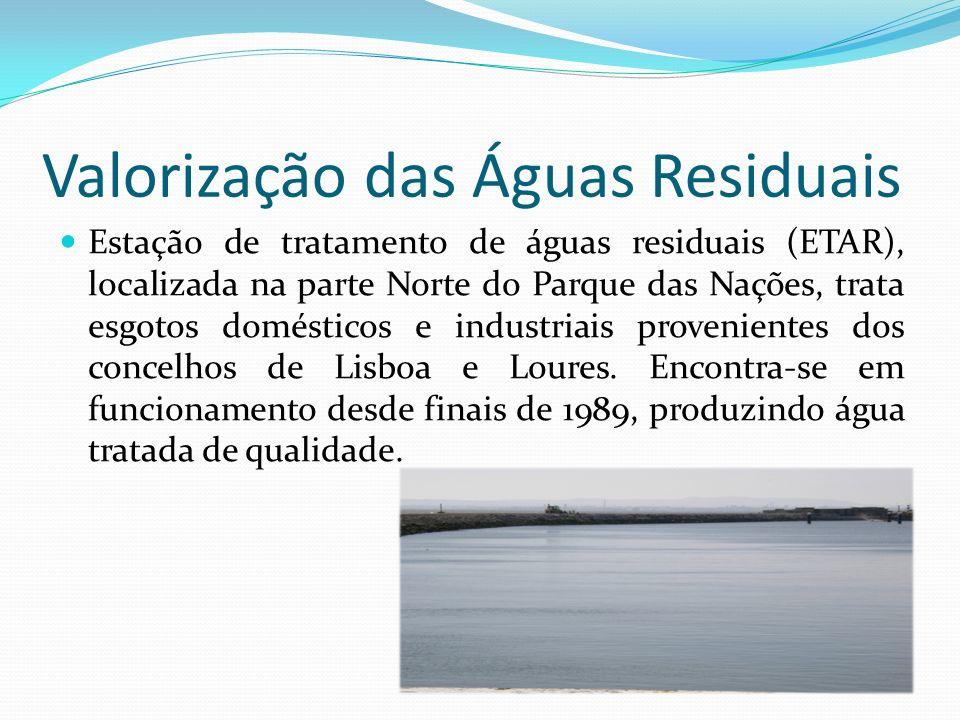 Valorização das Águas Residuais Estação de tratamento de águas residuais (ETAR), localizada na parte Norte do Parque das Nações, trata esgotos domésti