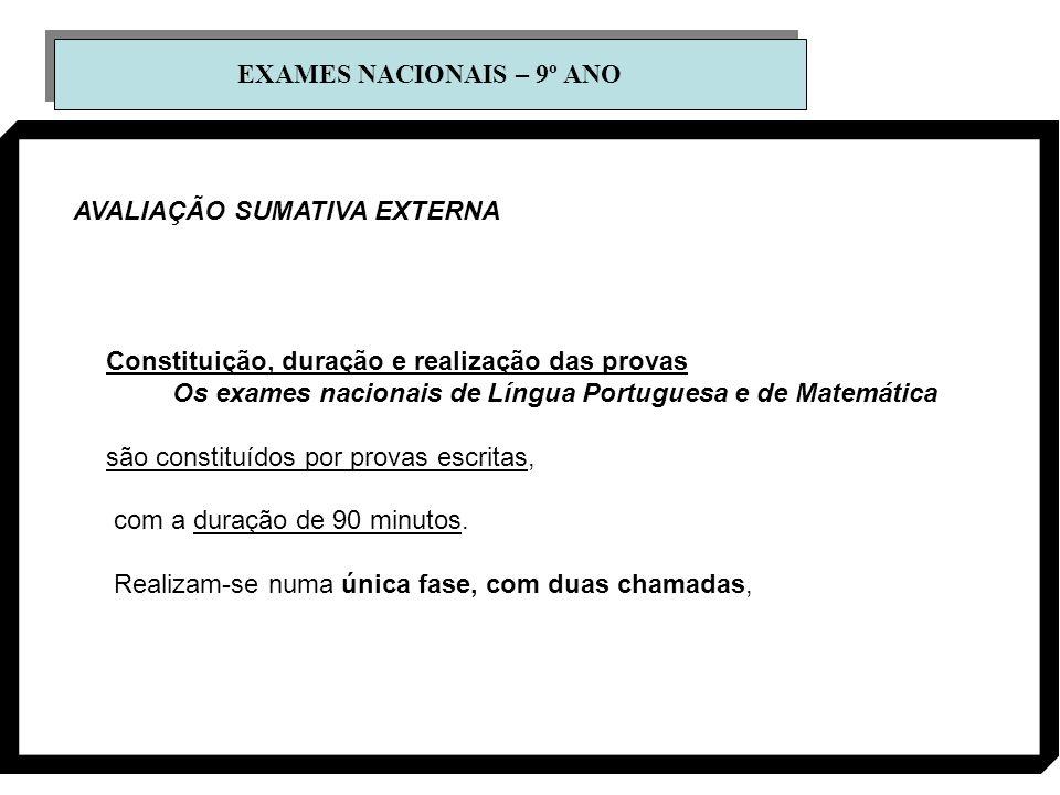 EXAMES NACIONAIS – 9º ANO AVALIAÇÃO SUMATIVA EXTERNA Constituição, duração e realização das provas Os exames nacionais de Língua Portuguesa e de Matem