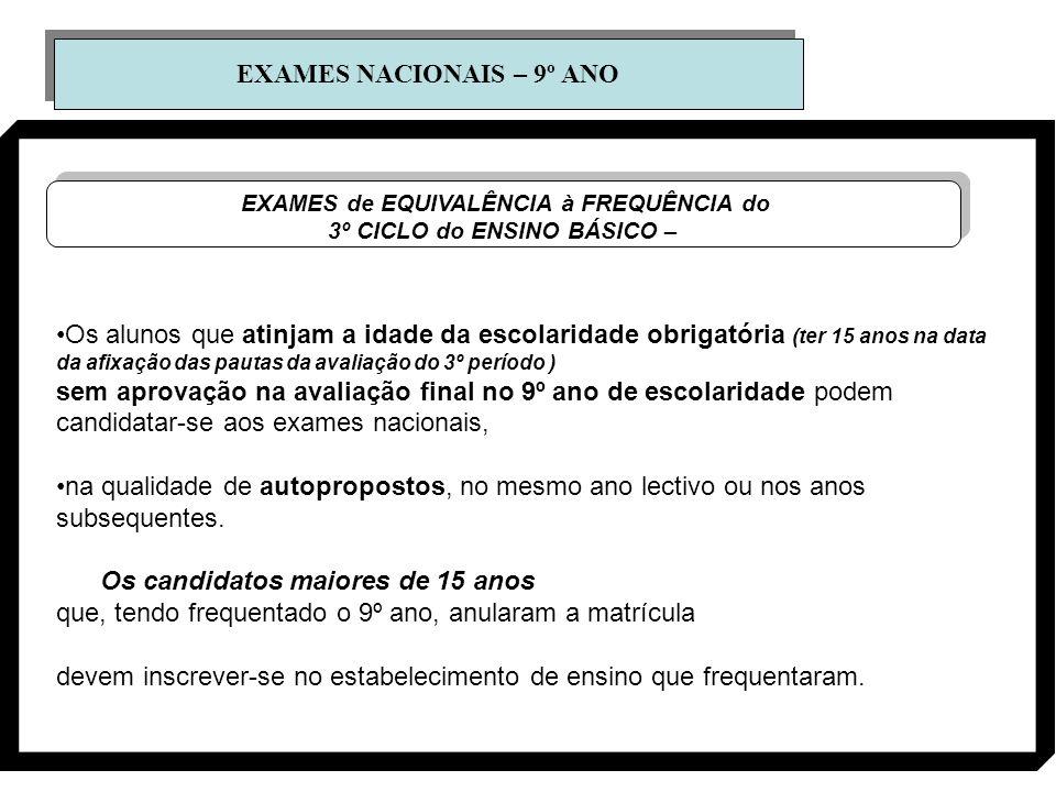 EXAMES NACIONAIS – 9º ANO EXAMES de EQUIVALÊNCIA à FREQUÊNCIA do 3º CICLO do ENSINO BÁSICO – EXAMES de EQUIVALÊNCIA à FREQUÊNCIA do 3º CICLO do ENSINO