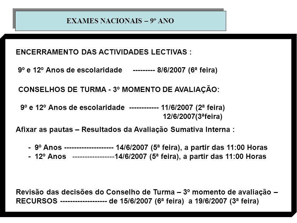 EXAMES NACIONAIS – 9º ANO ENCERRAMENTO DAS ACTIVIDADES LECTIVAS : 9º e 12º Anos de escolaridade --------- 8/6/2007 (6ª feira) CONSELHOS DE TURMA - 3º