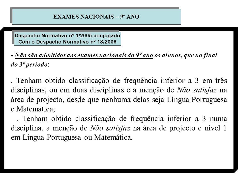EXAMES NACIONAIS – 9º ANO Despacho Normativo nº 1/2005,conjugado Com o Despacho Normativo nº 18/2006 Despacho Normativo nº 1/2005,conjugado Com o Desp