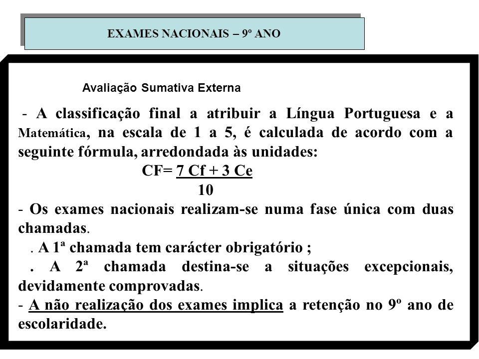 EXAMES NACIONAIS – 9º ANO - A classificação final a atribuir a Língua Portuguesa e a Matemática, na escala de 1 a 5, é calculada de acordo com a segui