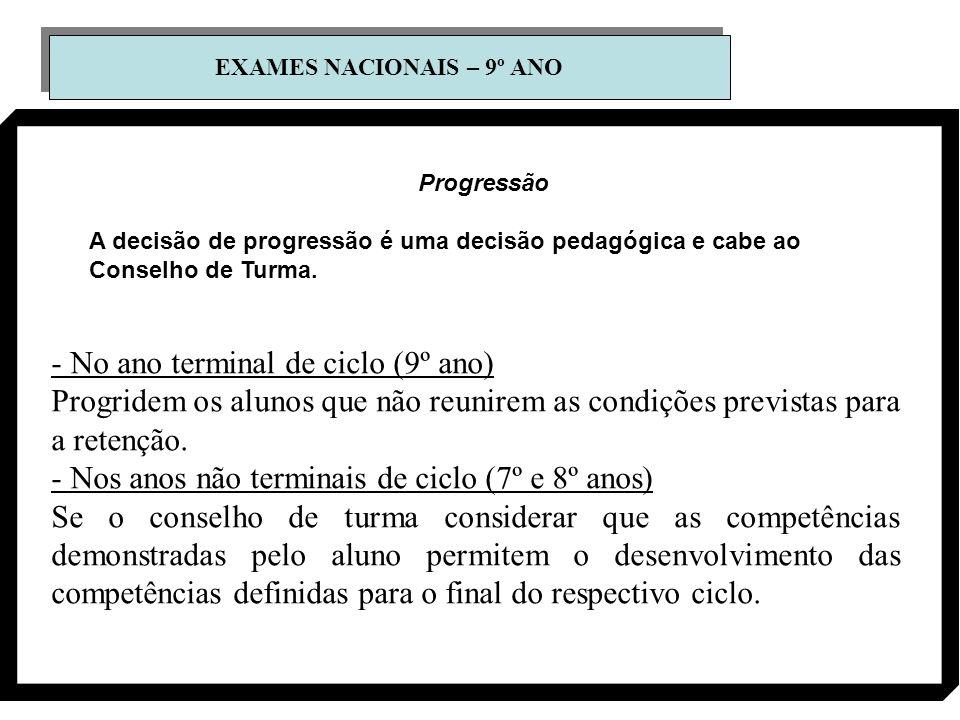 EXAMES NACIONAIS – 9º ANO Progressão A decisão de progressão é uma decisão pedagógica e cabe ao Conselho de Turma. - No ano terminal de ciclo (9º ano)