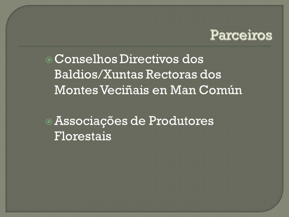 Parceiros Conselhos Directivos dos Baldios/Xuntas Rectoras dos Montes Veciñais en Man Común Conselhos Directivos dos Baldios/Xuntas Rectoras dos Montes Veciñais en Man Común Associações de Produtores Florestais Associações de Produtores Florestais