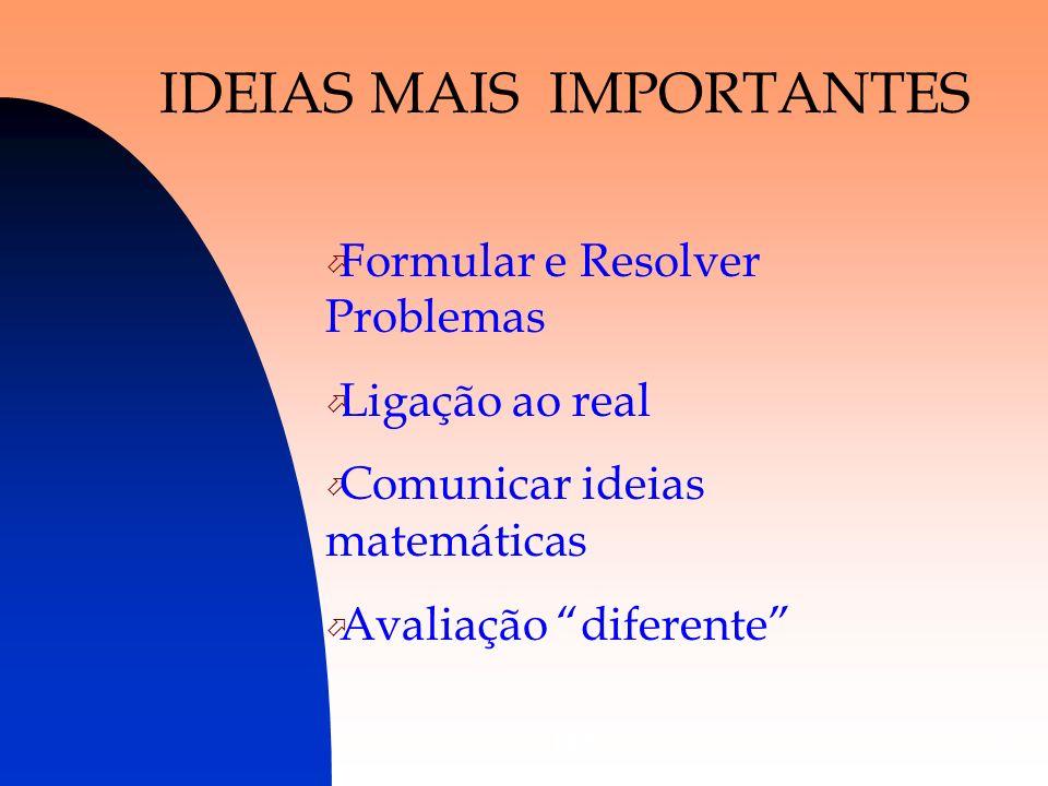 DES3 IDEIAS MAIS IMPORTANTES Formular e Resolver Problemas Ligação ao real Comunicar ideias matemáticas Avaliação diferente