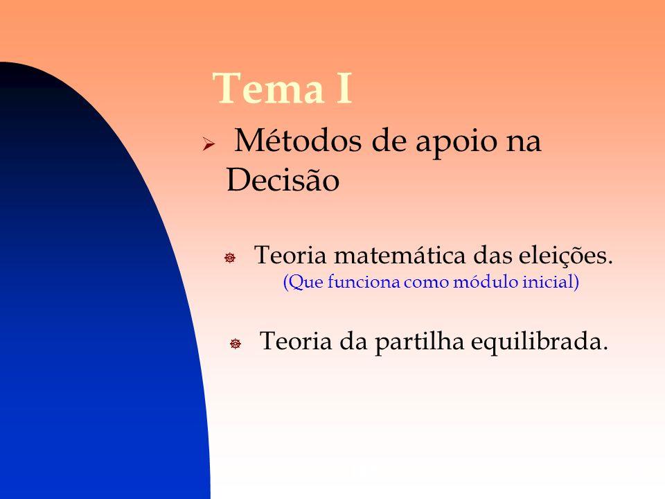 DES5 Tema I Métodos de apoio na Decisão Teoria matemática das eleições. (Que funciona como módulo inicial) Teoria da partilha equilibrada.