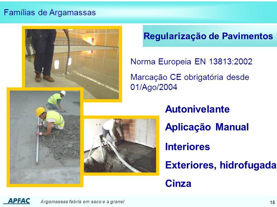 Argamassas fabris em saco e a granel 15 Regularização de Pavimentos Interiores Cinza Norma Europeia EN 13813:2002 Marcação CE obrigatória desde 01/Ago