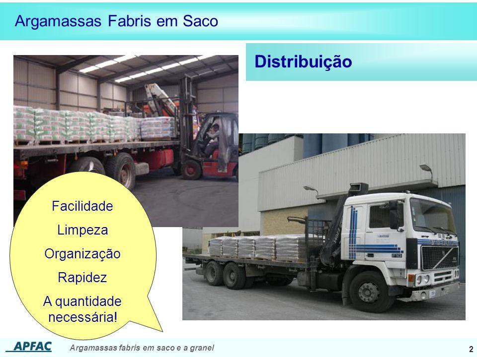 Argamassas fabris em saco e a granel 3 Distribuição Argamassas Fabris em Saco Facilidade Limpeza Organização ton/m 2 Paletes ~3 ton/m 2