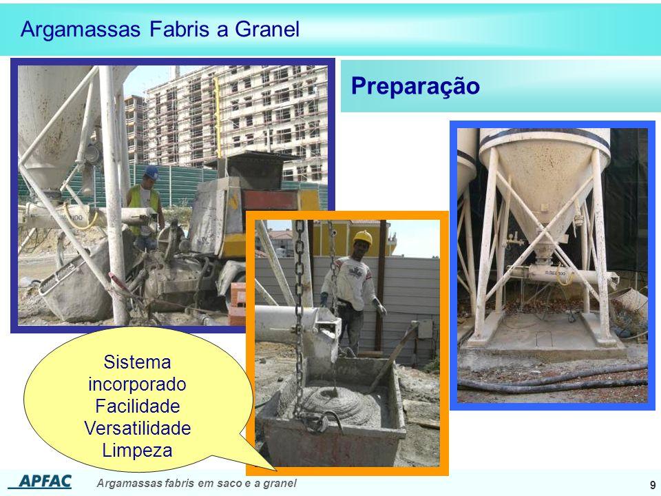 Argamassas fabris em saco e a granel 9 Preparação Argamassas Fabris a Granel Sistema incorporado Facilidade Versatilidade Limpeza