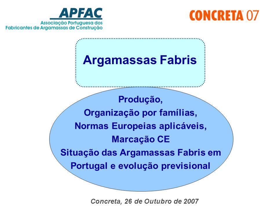 Argamassas Fabris Concreta, 26 de Outubro de 2007 Produção, Organização por famílias, Normas Europeias aplicáveis, Marcação CE Situação das Argamassas Fabris em Portugal e evolução previsional