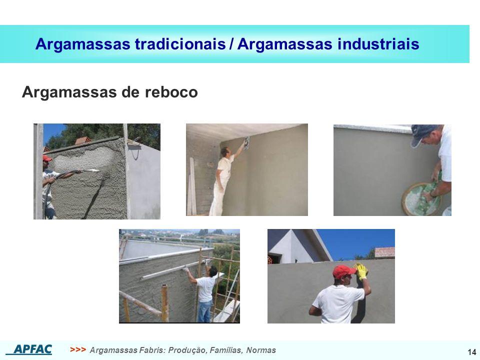 >>> Argamassas Fabris: Produção, Famílias, Normas 14 Argamassas tradicionais / Argamassas industriais Argamassas de reboco