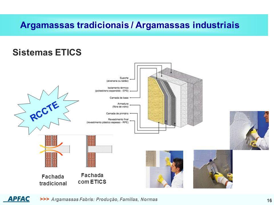 >>> Argamassas Fabris: Produção, Famílias, Normas 16 Argamassas tradicionais / Argamassas industriais Sistemas ETICS Fachada tradicional Fachada com ETICS RCCTE