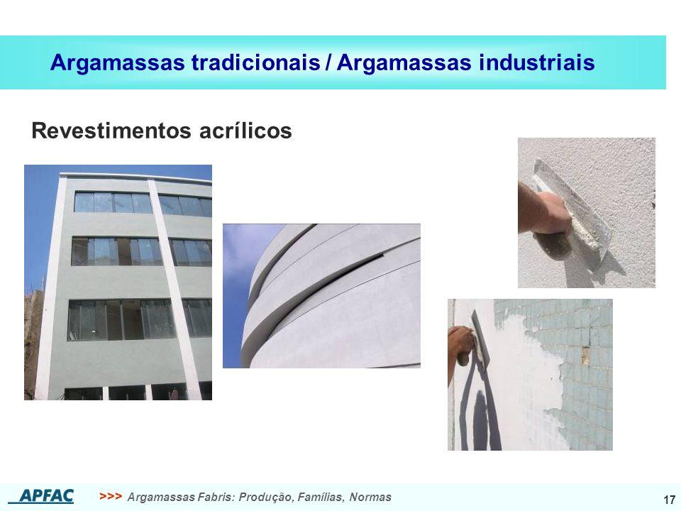 >>> Argamassas Fabris: Produção, Famílias, Normas 17 Argamassas tradicionais / Argamassas industriais Revestimentos acrílicos
