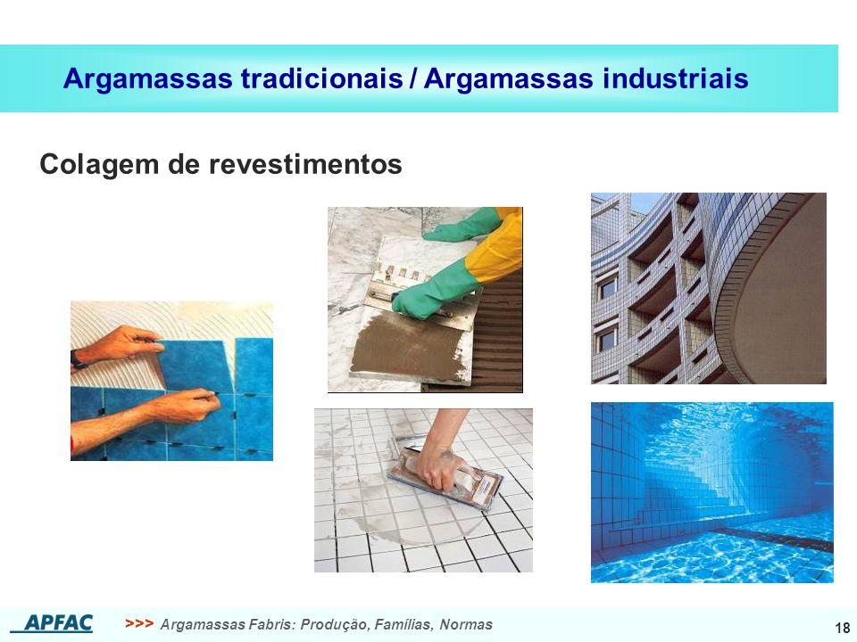 >>> Argamassas Fabris: Produção, Famílias, Normas 18 Argamassas tradicionais / Argamassas industriais Colagem de revestimentos