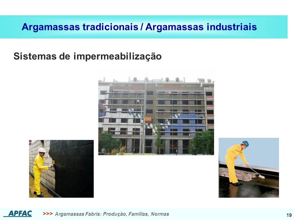 >>> Argamassas Fabris: Produção, Famílias, Normas 19 Argamassas tradicionais / Argamassas industriais Sistemas de impermeabilização