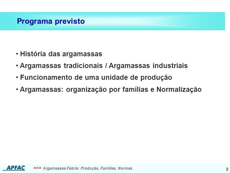 >>> Argamassas Fabris: Produção, Famílias, Normas 43 APFAC, Associação Portuguesa dos Fabricantes de Argamassas de Construção Obrigado pela atenção.