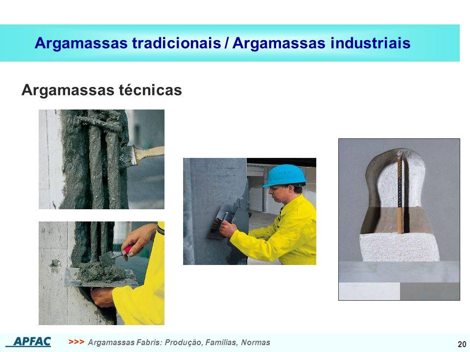 >>> Argamassas Fabris: Produção, Famílias, Normas 20 Argamassas tradicionais / Argamassas industriais Argamassas técnicas