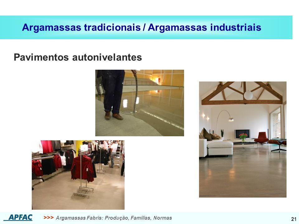 >>> Argamassas Fabris: Produção, Famílias, Normas 21 Argamassas tradicionais / Argamassas industriais Pavimentos autonivelantes