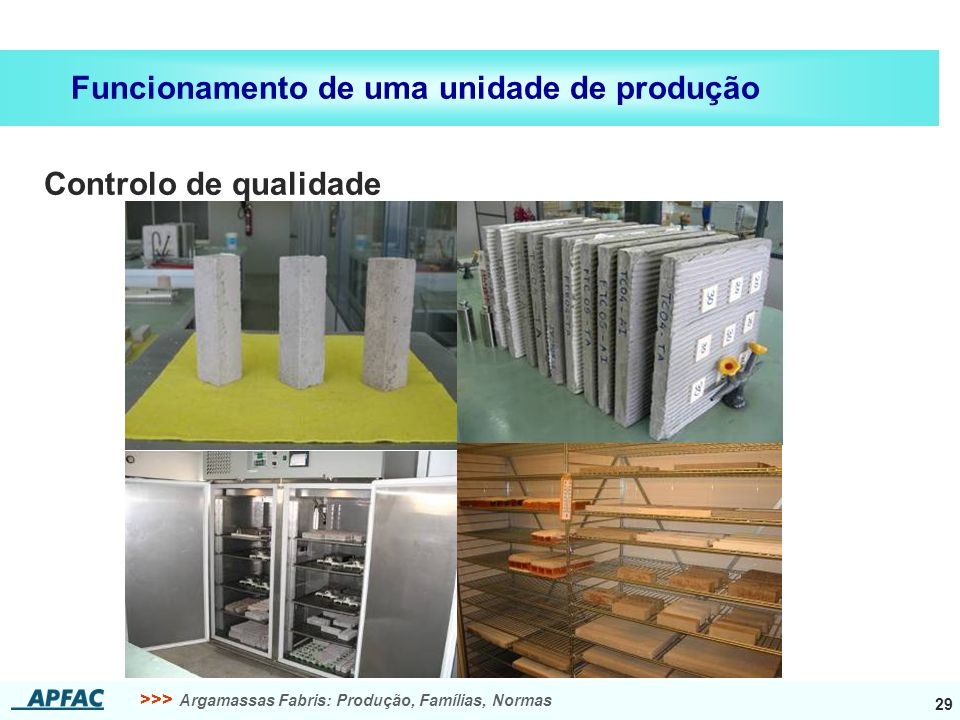 >>> Argamassas Fabris: Produção, Famílias, Normas 29 Funcionamento de uma unidade de produção Controlo de qualidade