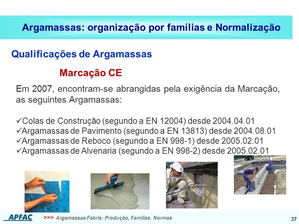 >>> Argamassas Fabris: Produção, Famílias, Normas 37 Argamassas: organização por famílias e Normalização Qualificações de Argamassas Em 2007, encontram-se abrangidas pela exigência da Marcação, as seguintes Argamassas: Colas de Construção (segundo a EN 12004) desde 2004.04.01 Argamassas de Pavimento (segundo a EN 13813) desde 2004.08.01 Argamassas de Reboco (segundo a EN 998-1) desde 2005.02.01 Argamassas de Alvenaria (segundo a EN 998-2) desde 2005.02.01 Marcação CE