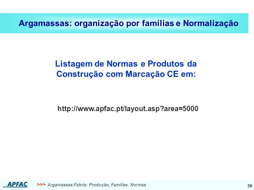 >>> Argamassas Fabris: Produção, Famílias, Normas 39 Argamassas: organização por famílias e Normalização Listagem de Normas e Produtos da Construção com Marcação CE em: http://www.apfac.pt/layout.asp?area=5000