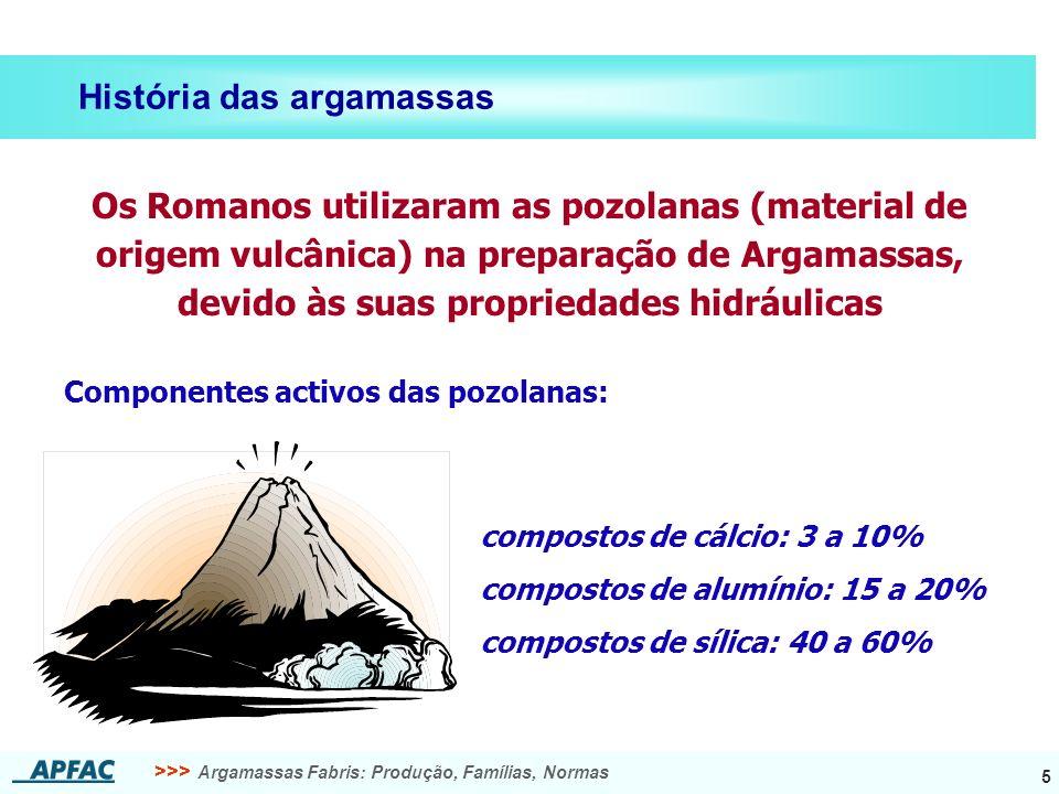 >>> Argamassas Fabris: Produção, Famílias, Normas 6 História das argamassas Cinzas vulcânicas ou pozolanas Pó de Tijolo ou de Telha Cal Hidratada Areias Matérias orgânicas (gorduras) As Argamassas utilizadas pelos Romanos eram constituídas essencialmente por: