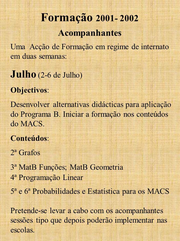 Formação 2001- 2002 Acompanhantes Uma Acção de Formação em regime de internato em duas semanas: Julho (2-6 de Julho) Objectivos: Desenvolver alternati
