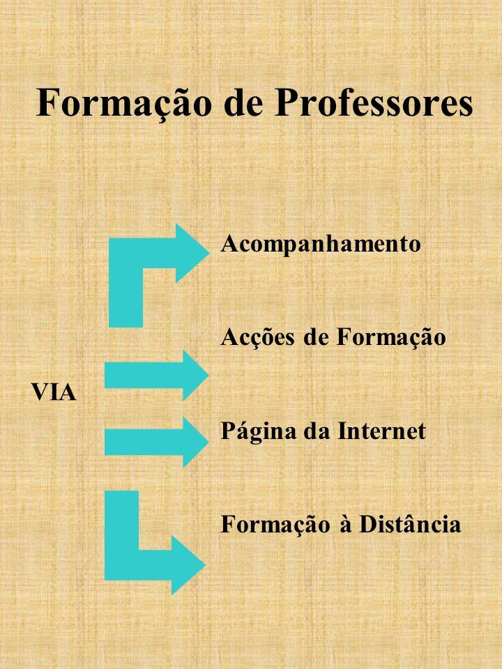 Formação de Professores Acompanhamento Acções de Formação Página da Internet Formação à Distância VIA