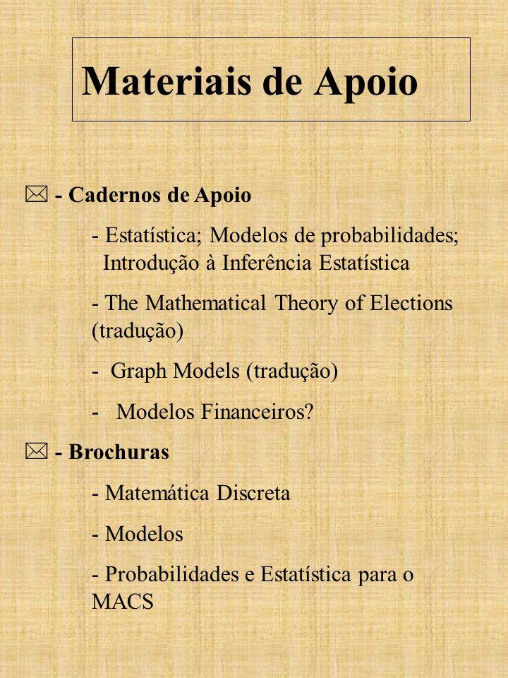 Materiais de Apoio - Cadernos de Apoio - Estatística; Modelos de probabilidades; Introdução à Inferência Estatística - The Mathematical Theory of Elec