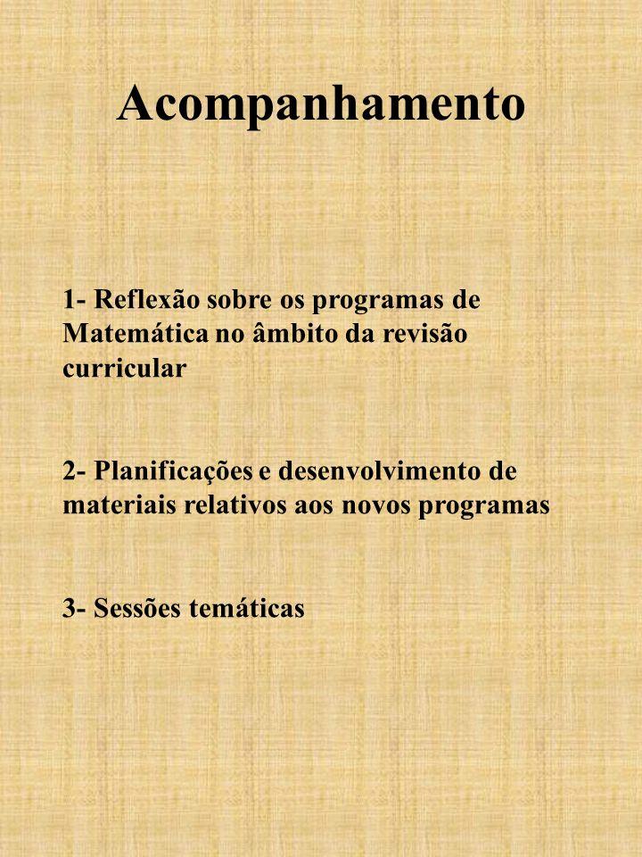 Acompanhamento 1- Reflexão sobre os programas de Matemática no âmbito da revisão curricular 2- Planificações e desenvolvimento de materiais relativos
