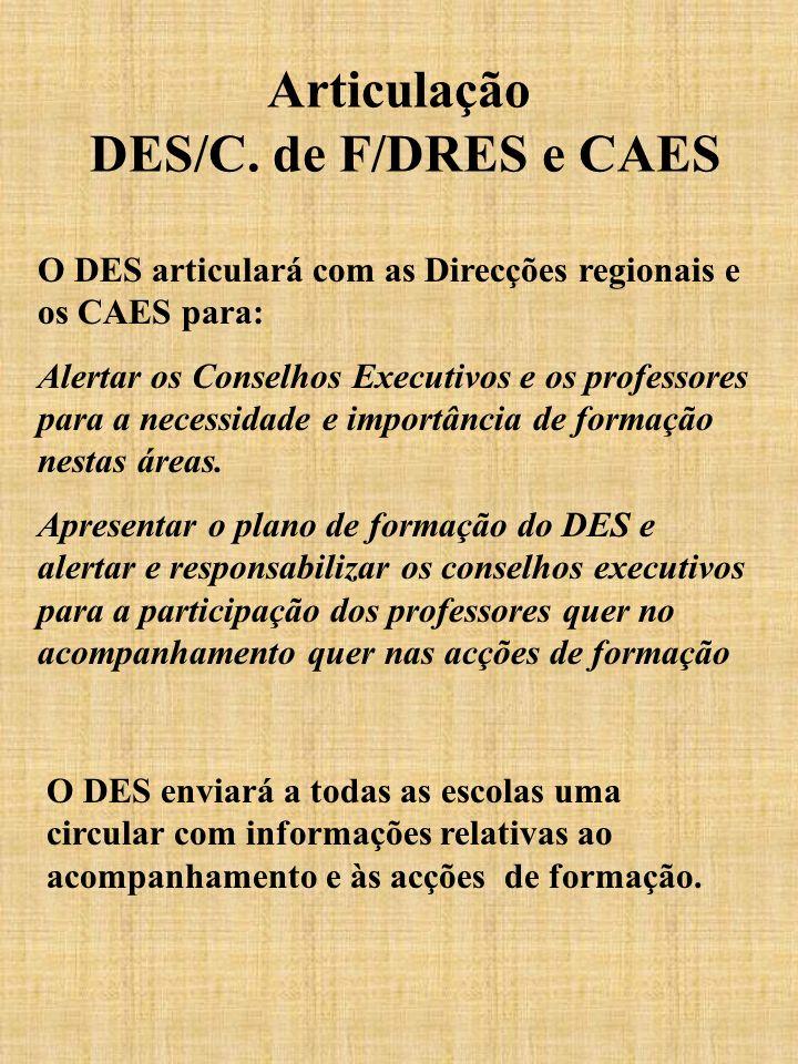 Articulação DES/C. de F/DRES e CAES O DES articulará com as Direcções regionais e os CAES para: Alertar os Conselhos Executivos e os professores para