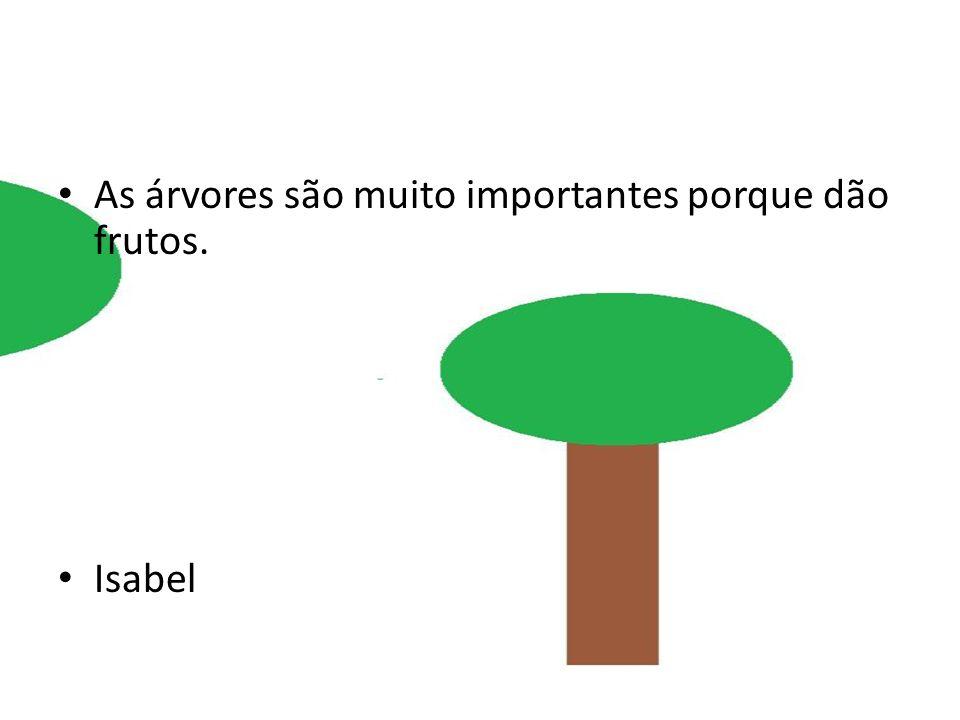 As árvores são muito importantes porque dão frutos. Isabel