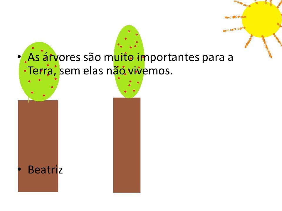 As árvores são muito importantes para a Terra, sem elas não vivemos. Beatriz
