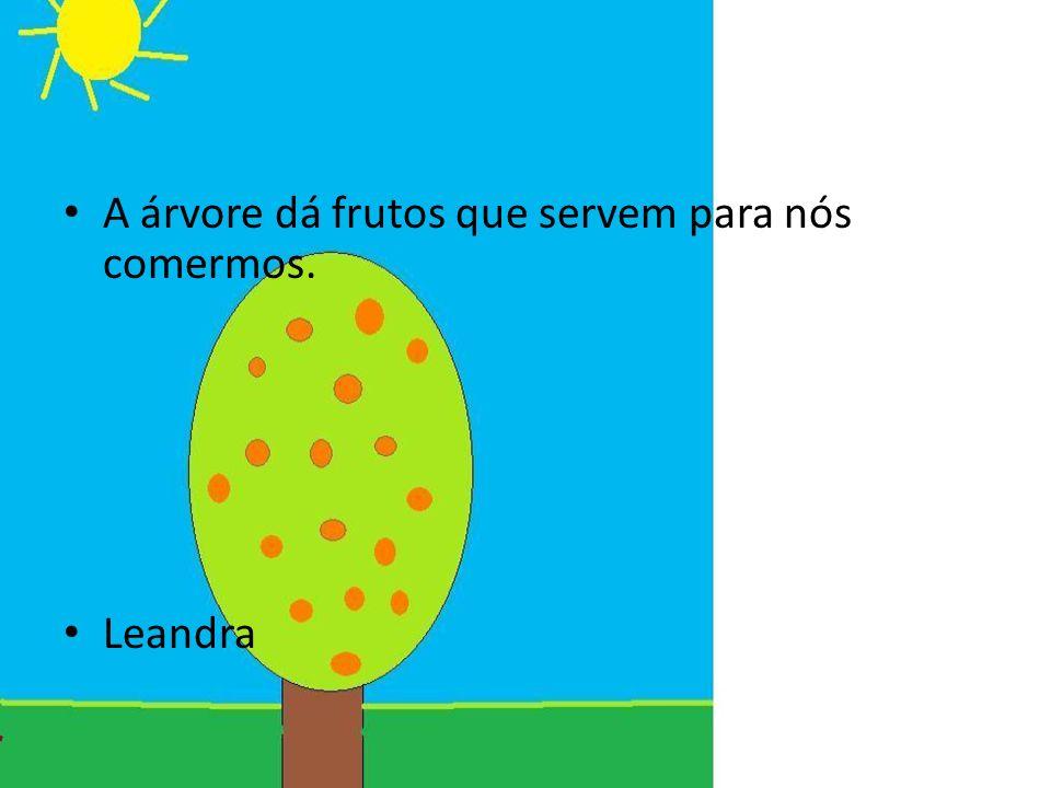 A árvore dá frutos que servem para nós comermos. Leandra