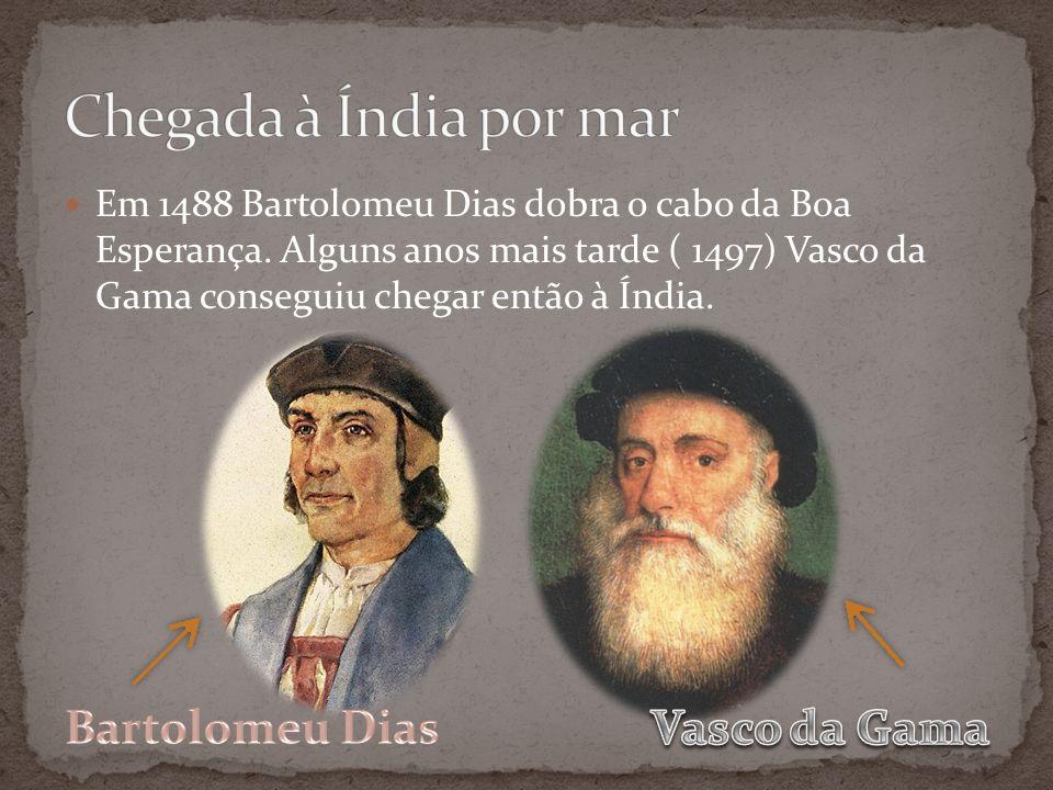 Em 1488 Bartolomeu Dias dobra o cabo da Boa Esperança. Alguns anos mais tarde ( 1497) Vasco da Gama conseguiu chegar então à Índia.
