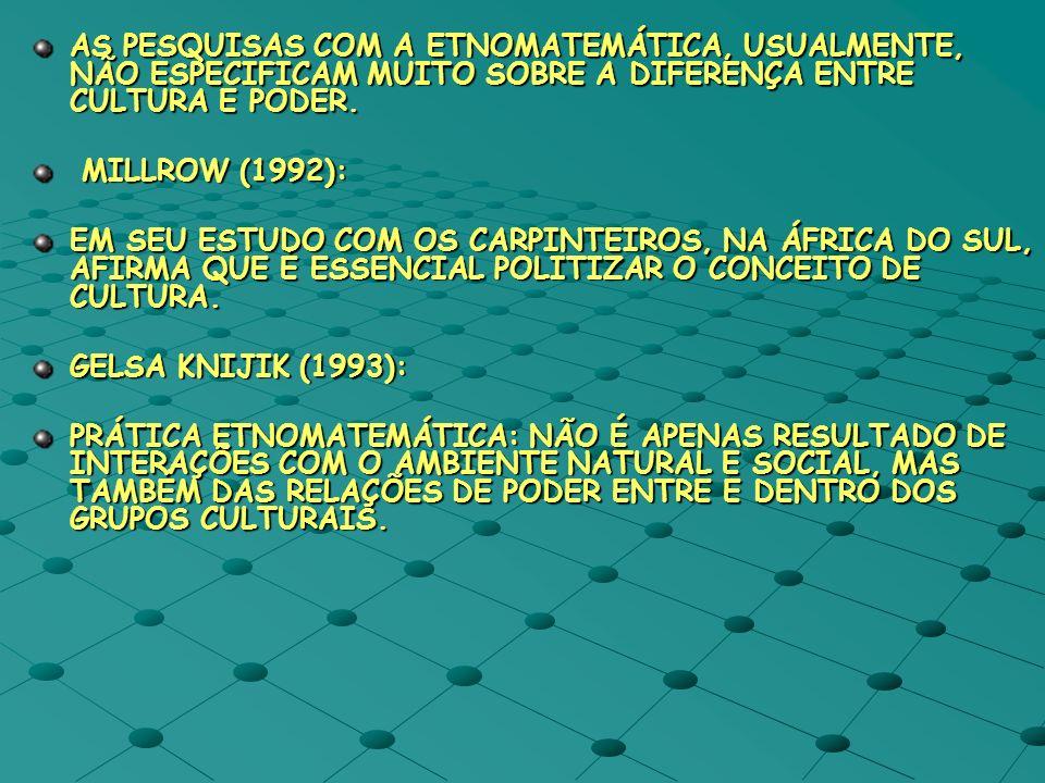 AS PESQUISAS COM A ETNOMATEMÁTICA, USUALMENTE, NÃO ESPECIFICAM MUITO SOBRE A DIFERENÇA ENTRE CULTURA E PODER. MILLROW (1992): MILLROW (1992): EM SEU E