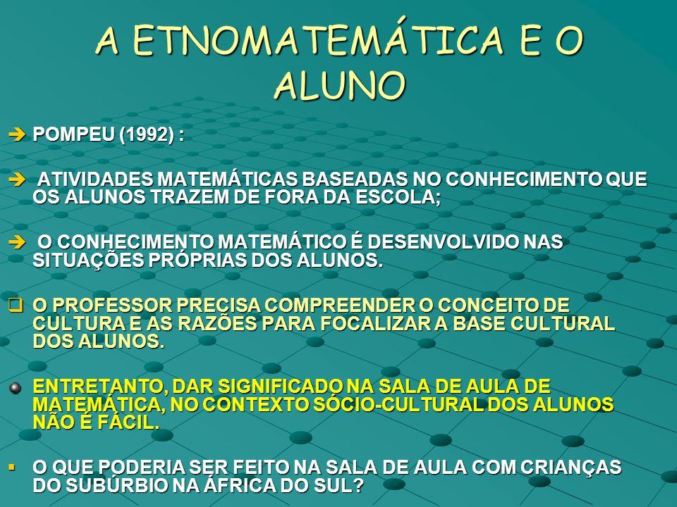 A ETNOMATEMÁTICA E O ALUNO POMPEU (1992) : POMPEU (1992) : ATIVIDADES MATEMÁTICAS BASEADAS NO CONHECIMENTO QUE OS ALUNOS TRAZEM DE FORA DA ESCOLA; ATI
