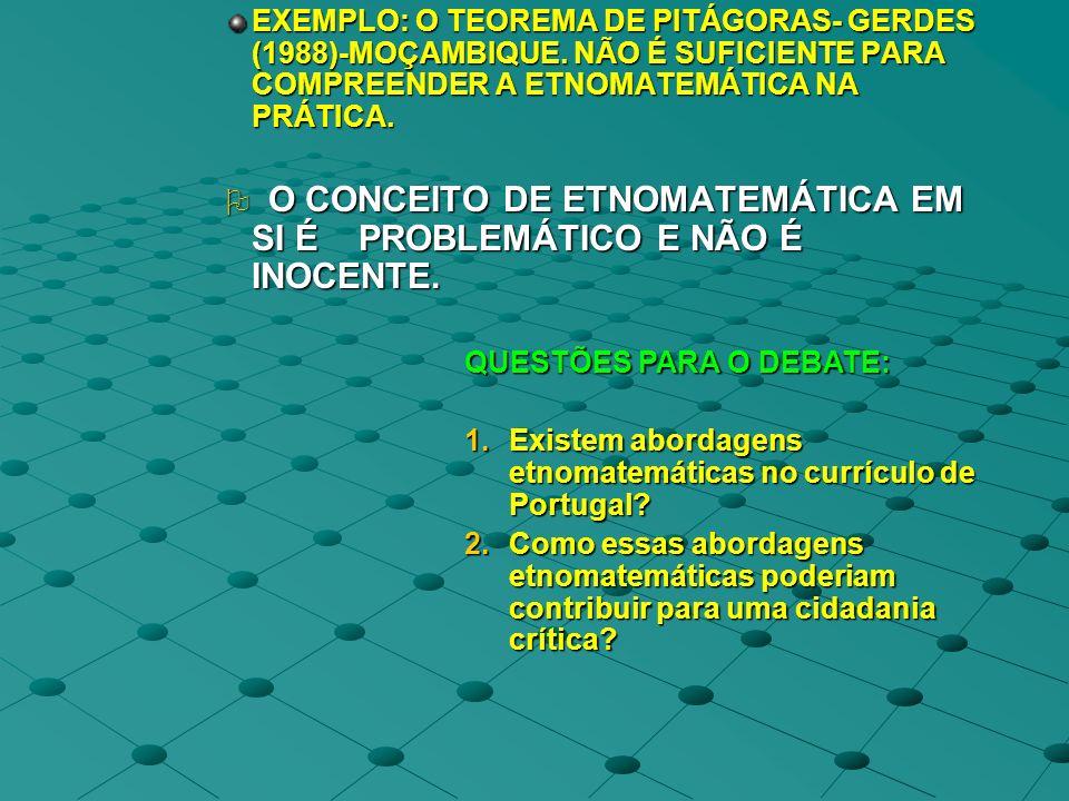 EXEMPLO: O TEOREMA DE PITÁGORAS- GERDES (1988)-MOÇAMBIQUE. NÃO É SUFICIENTE PARA COMPREENDER A ETNOMATEMÁTICA NA PRÁTICA. O CONCEITO DE ETNOMATEMÁTICA
