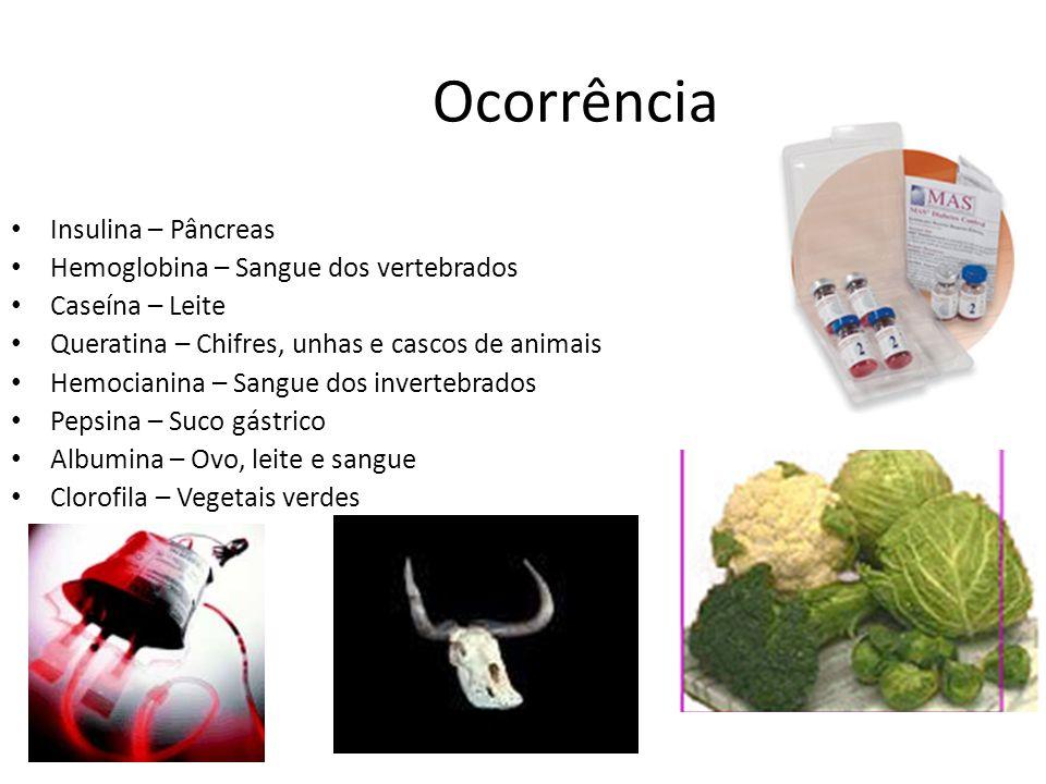 Ocorrência Insulina – Pâncreas Hemoglobina – Sangue dos vertebrados Caseína – Leite Queratina – Chifres, unhas e cascos de animais Hemocianina – Sangu