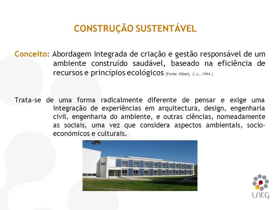 Conceito: Abordagem integrada de criação e gestão responsável de um ambiente construído saudável, baseado na eficiência de recursos e princípios ecoló