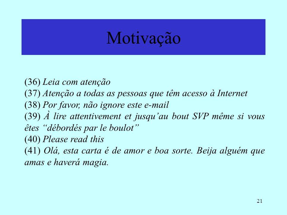 21 Motivação (36) Leia com atenção (37) Atenção a todas as pessoas que têm acesso à Internet (38) Por favor, não ignore este e-mail (39) À lire attent