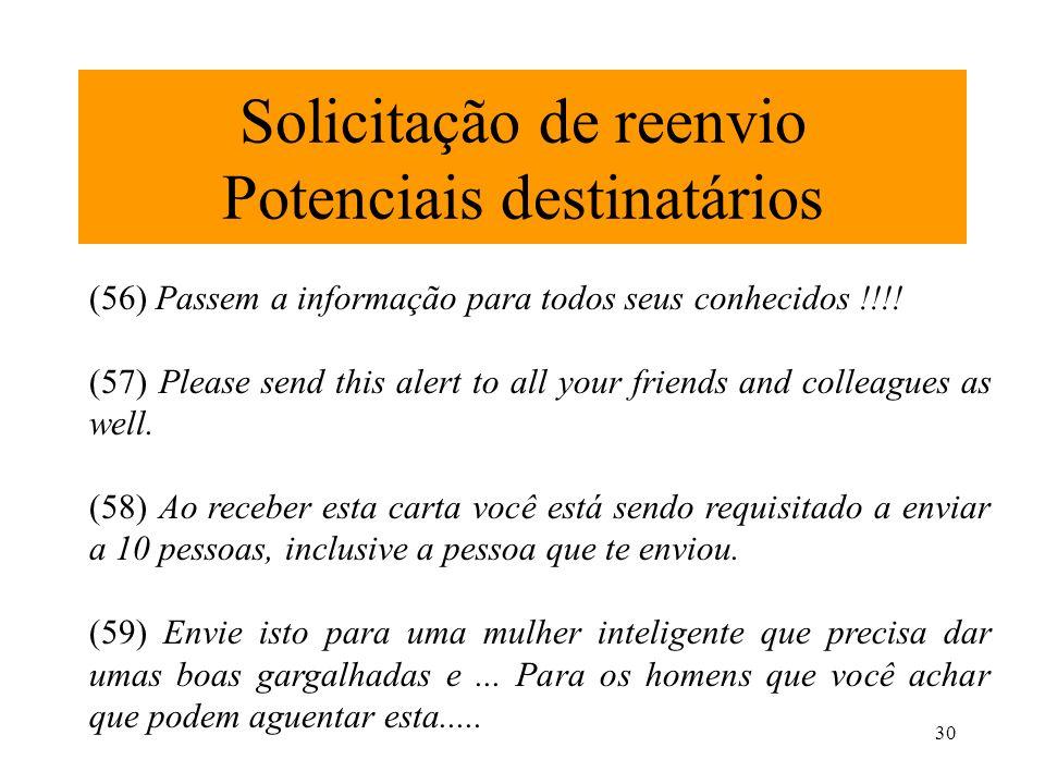 30 Solicitação de reenvio Potenciais destinatários (56) Passem a informação para todos seus conhecidos !!!! (57) Please send this alert to all your fr