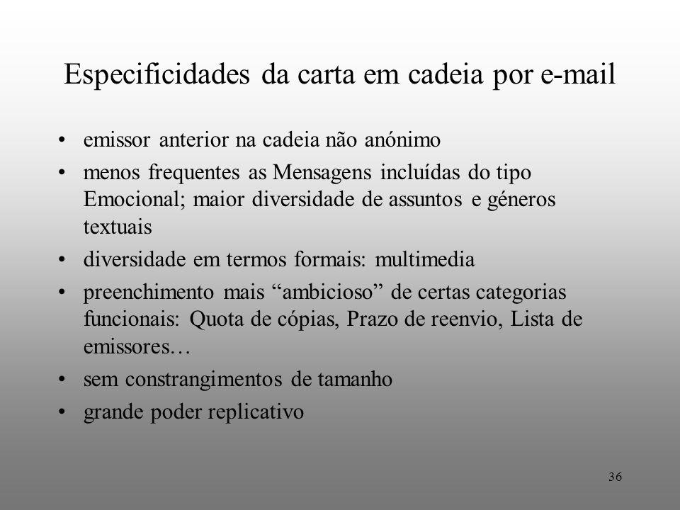36 Especificidades da carta em cadeia por e-mail emissor anterior na cadeia não anónimo menos frequentes as Mensagens incluídas do tipo Emocional; mai