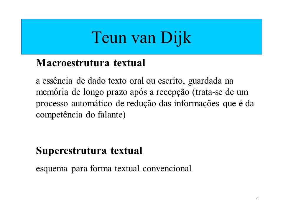 4 Teun van Dijk Macroestrutura textual a essência de dado texto oral ou escrito, guardada na memória de longo prazo após a recepção (trata-se de um pr