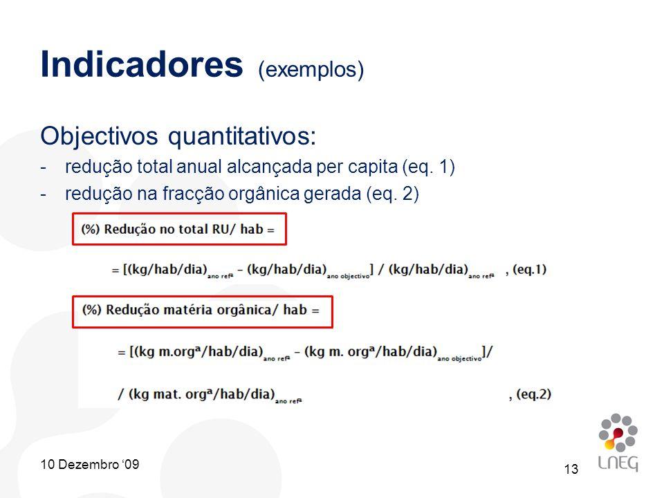 Indicadores (exemplos) Objectivos quantitativos: -redução total anual alcançada per capita (eq. 1) -redução na fracção orgânica gerada (eq. 2) 13 10 D