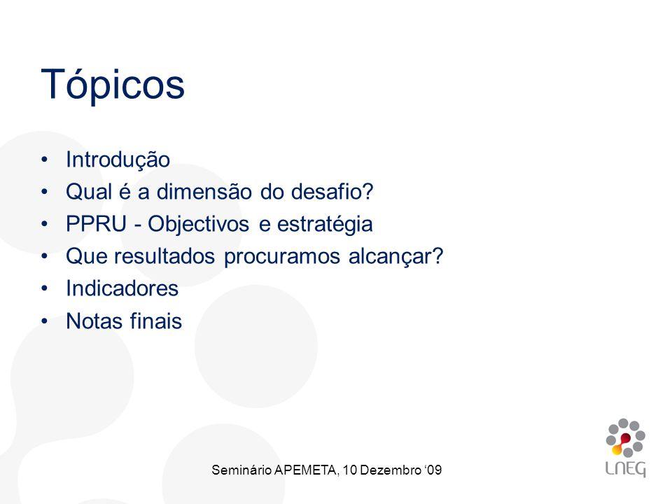 Introdução Qual é a dimensão do desafio? PPRU - Objectivos e estratégia Que resultados procuramos alcançar? Indicadores Notas finais Tópicos Seminário